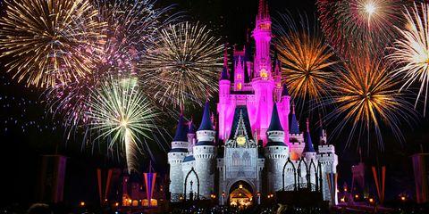 Fireworks, Landmark, New Years Day, Event, New year's eve, Fête, Walt disney world, Pink, New year, Recreation,