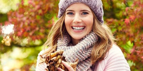People in nature, Photograph, Facial expression, Leaf, People, Autumn, Beauty, Beanie, Knit cap, Smile,