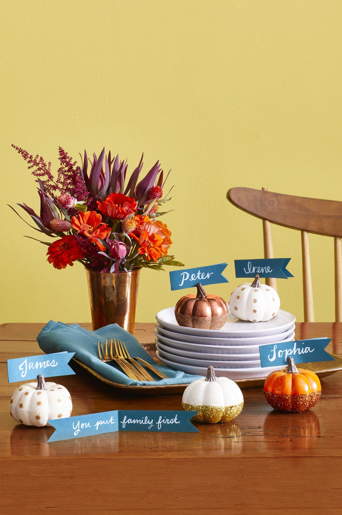 Thanksgiving Crafts Pumpkin Place cards