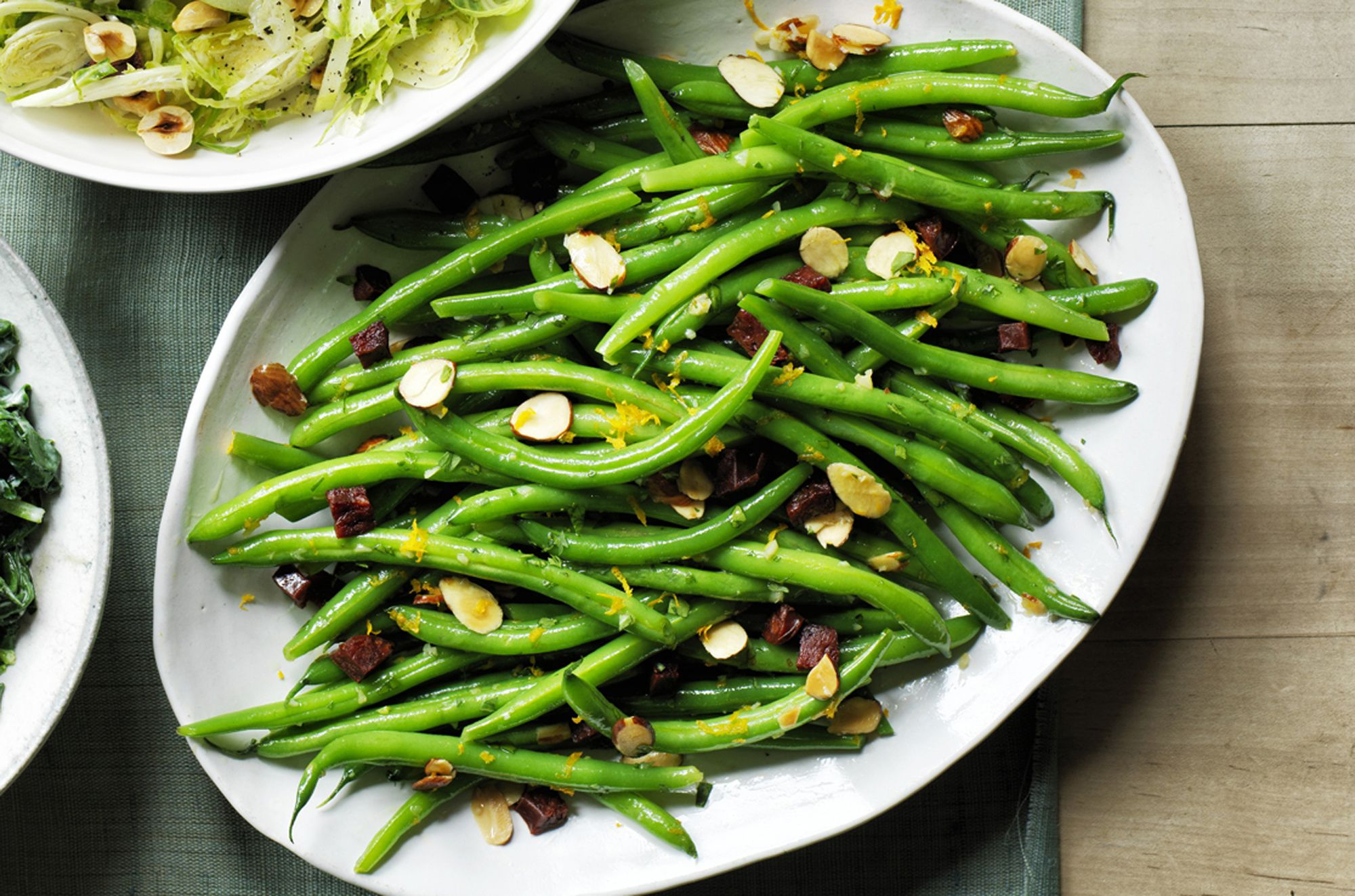 Green Beans with Chorizo and Almond Crumbs