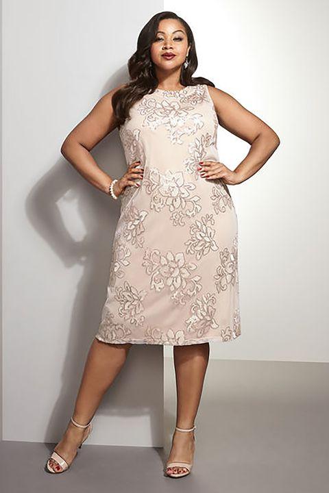 Floral Sequin A-Line Dress