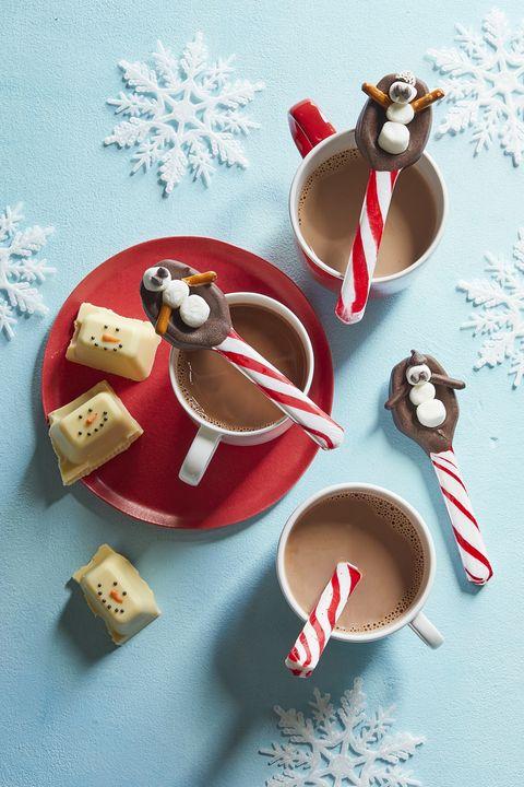 christmas desserts snowman spoons