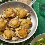 easy chicken dinner recipes -crispy chicken thighs with escarole and parmesan salad