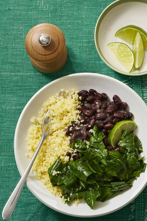 Vegetarian Meals Stewed Black Beans with Collared Greens