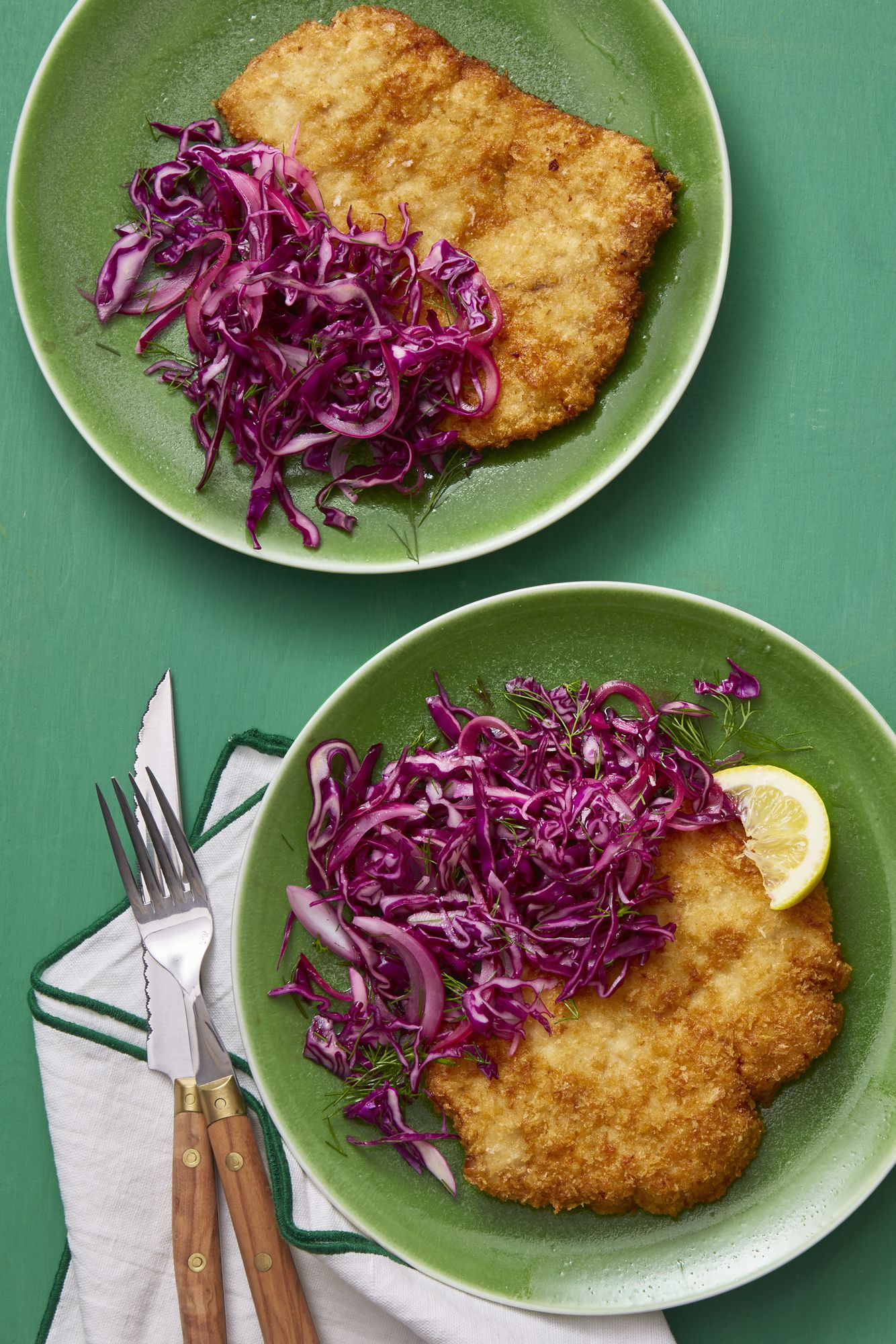 pork schnitzel with red cabbage and carraway salad