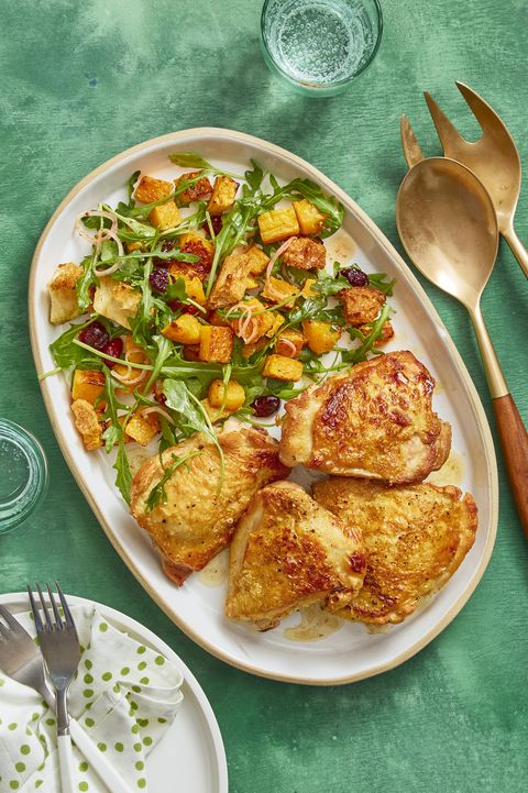 christmas dinner roasted chicken and squash panzanella - Easy Christmas Meals