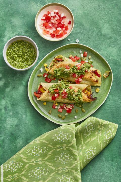 Vegetarian Meals Enchiladas with Pumpkin Salsa