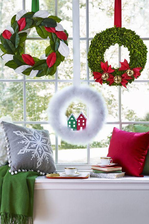 christmas wreaths holiday window display