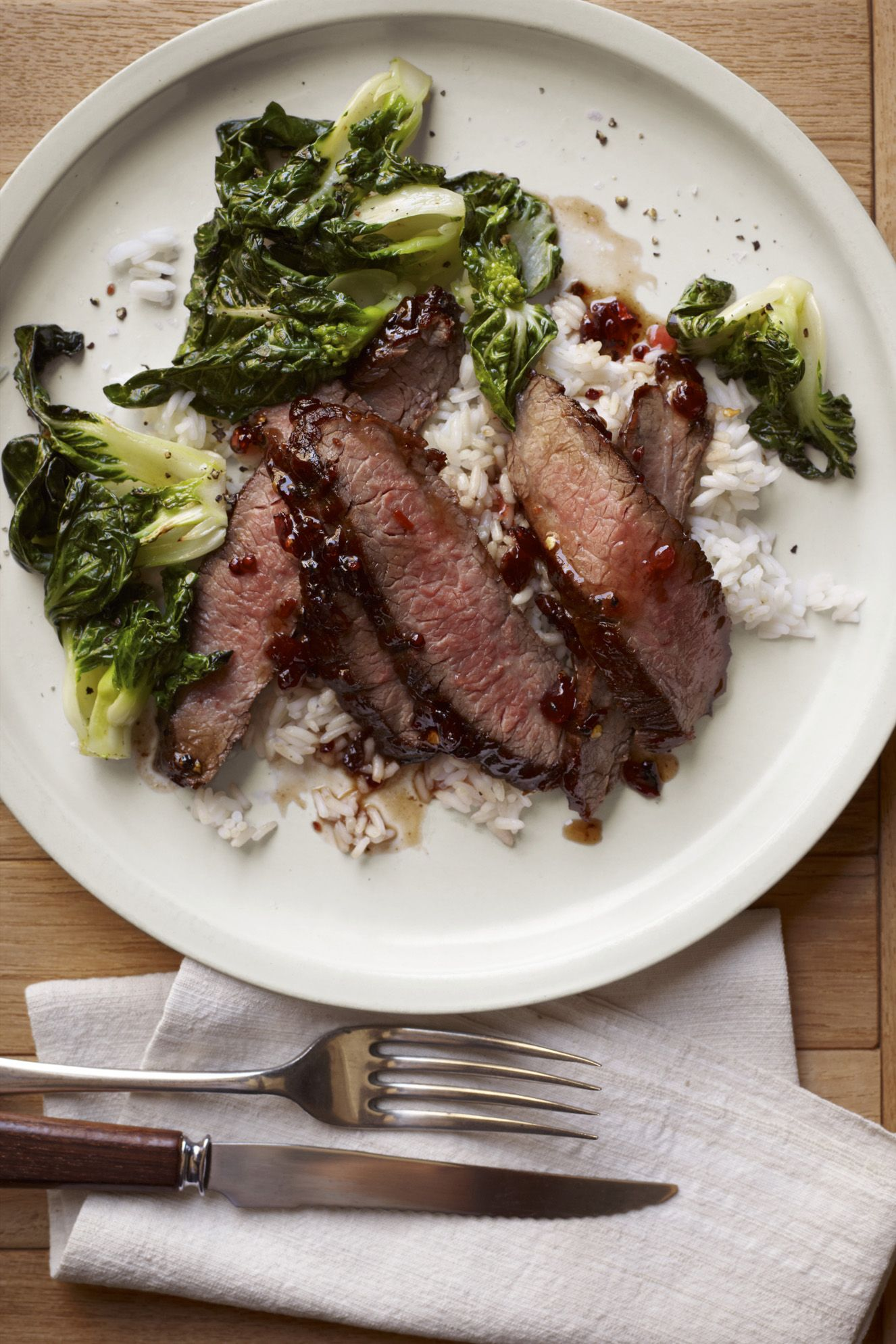 Glazed Steak with Sautéed Bok Choy