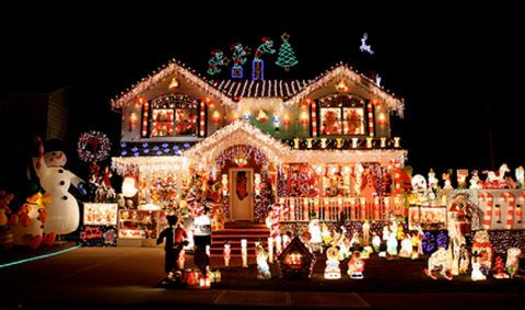 christmas lights on houses images
