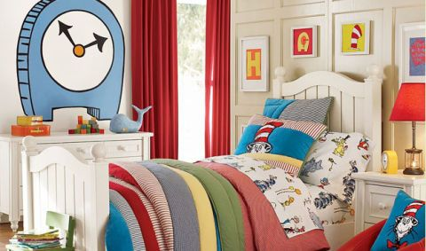 Blue, Room, Interior design, Textile, Wall, Linens, Furniture, Interior design, Home, Bedroom,