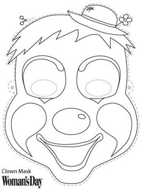 Halloween Crafts- Clown Face Mask to Color at WomansDay.com