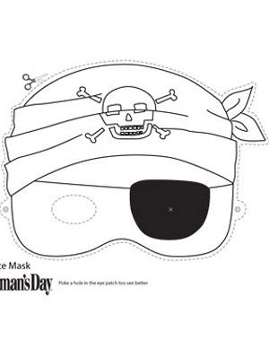 Halloween Crafts- Print and Color Pirate Face Mask at