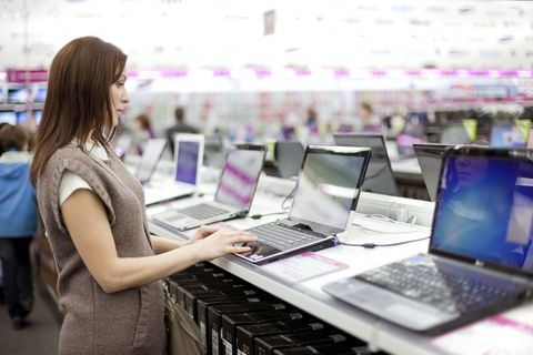 woman at electronics store