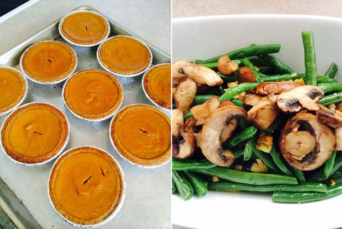 pumpkin pies and green beans