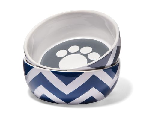 top paw ceramic chevron dog bowl