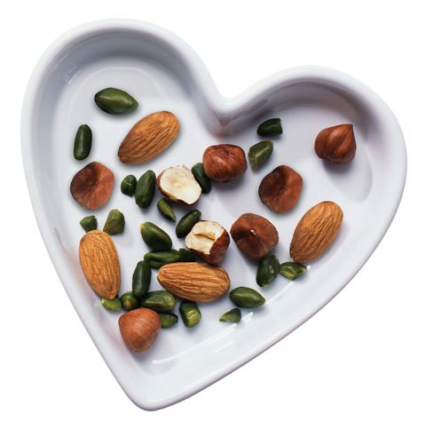 nuts on a heart plate