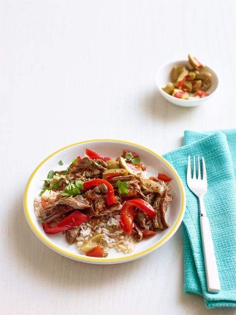 cuban style braised steak and peppers