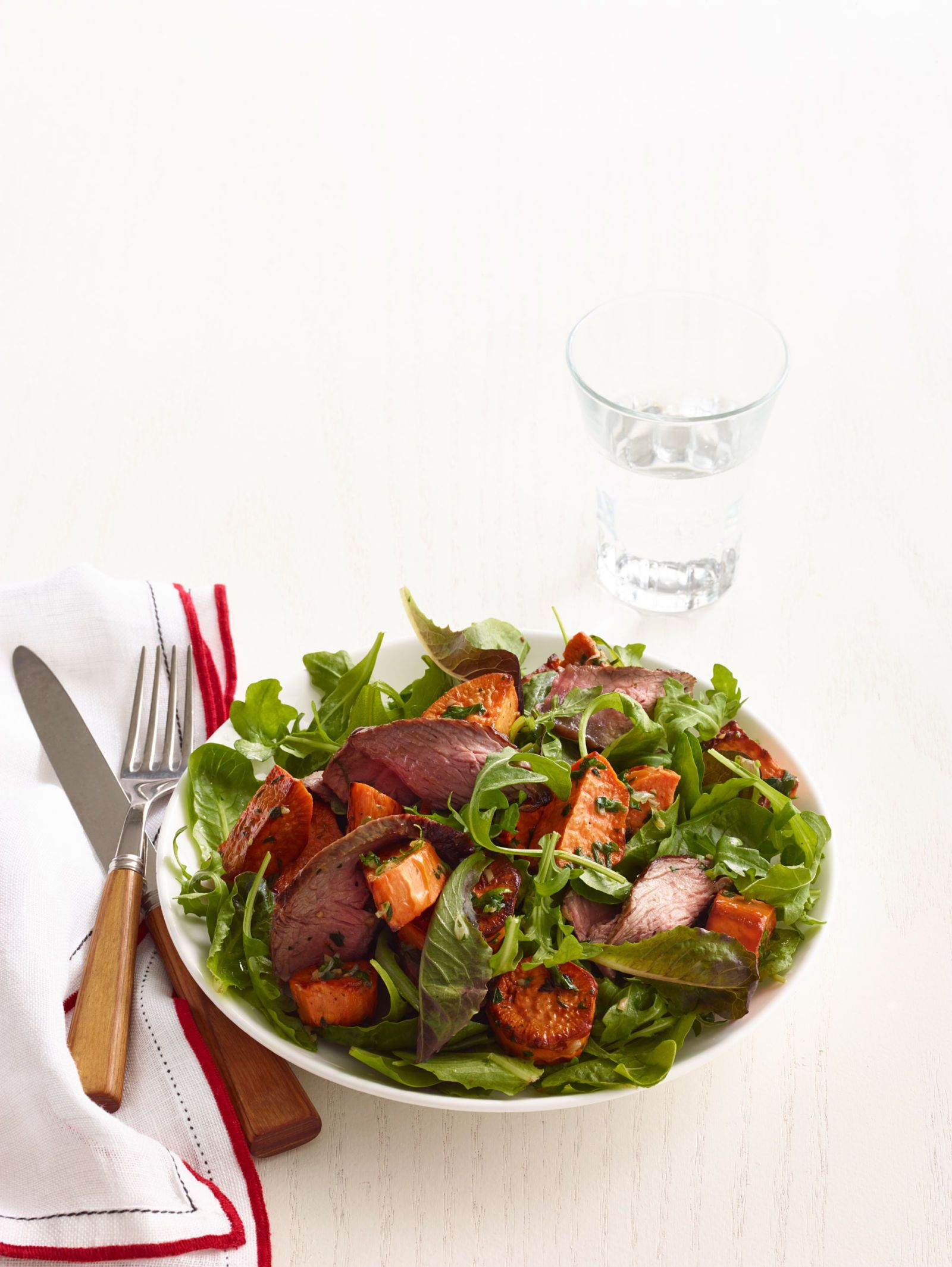 Arugula, Sweet Potato, and Spiced Steak Salad