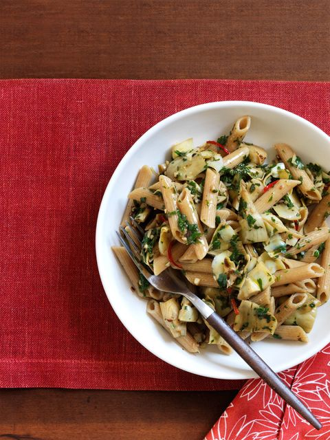 parsley pasta with sauteed artichokes