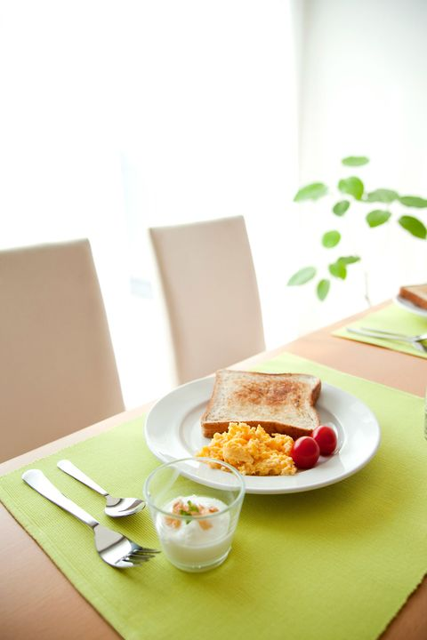 scrambled eggs, toast and yogurt
