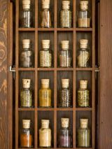 floor-to-ceiling collection of spice jars
