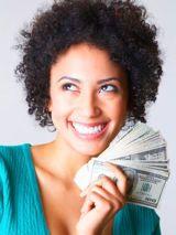 woman loving her money
