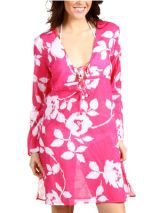 Echo Bi-Color Floral Beach Dress with Ties