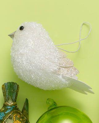 White Glitter Fabric Bird