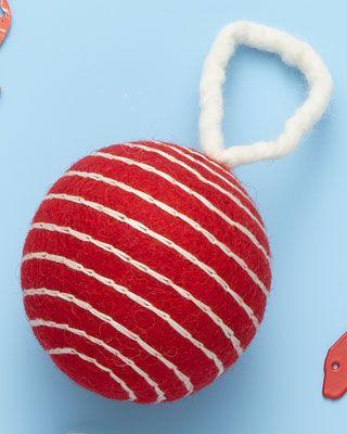 Red/White Stripe Felt Ball