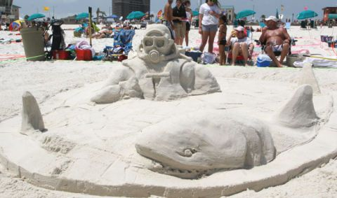 Sand Shark Sculpture On The Beach At Long Point Sculpted Into Shape Of