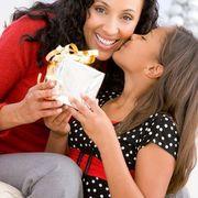 kid kissing mom