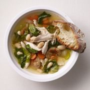 Chicken Soup with Smoked Sausage, White Beans and Greens