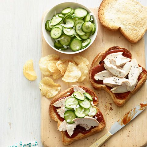 bbq chicken sandwiches and pickled cucumbers