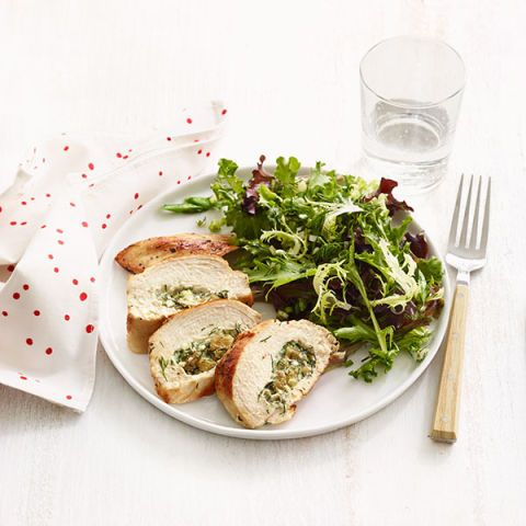 dill raisin and cheese stuffed chicken breasts