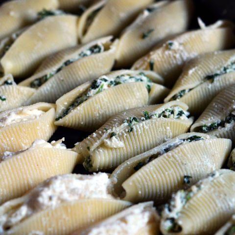 basic three cheese and herb stuffed shells