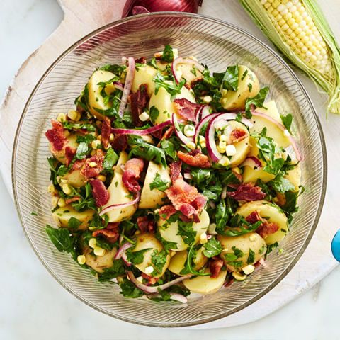 bbq side dishes -potato salad with sweet corn bacon and red onion