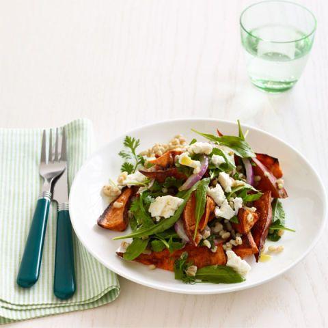 vegetarian thanksgiving Roasted Sweet Potato Salad with Barley and Arugula