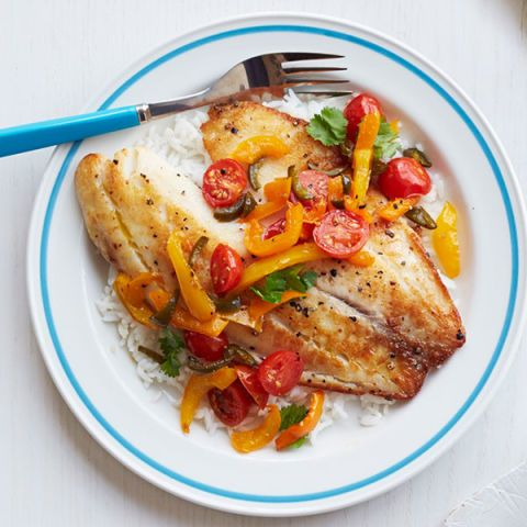 tilapia with tomato and pepper relish