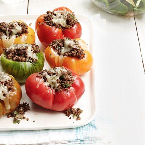 cheesy beef stuffed tomatoes