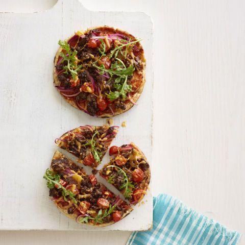 pizza recipes cheeseburger flatbread pizza