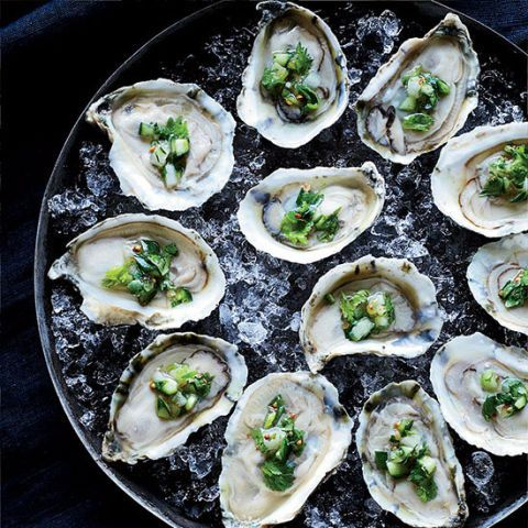 oysters on the half shell with ceviche topping