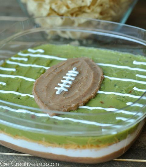 football and field layered dip