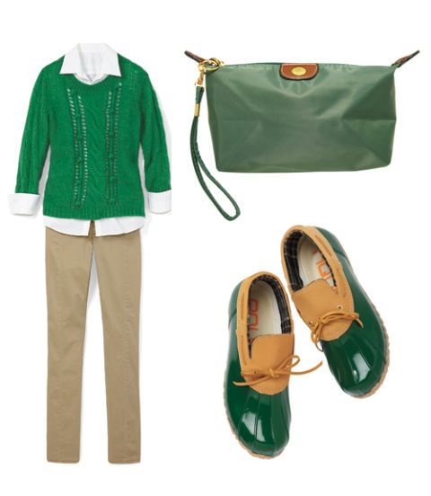 green sweater outfit