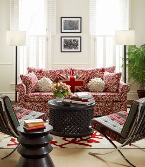 red patterned couch in a living room