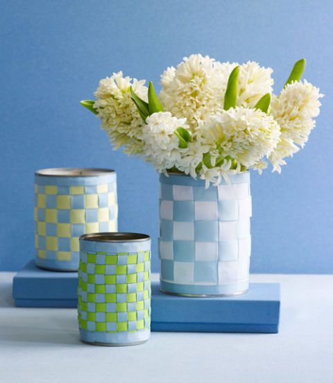 basket weave vases craft with ribbon