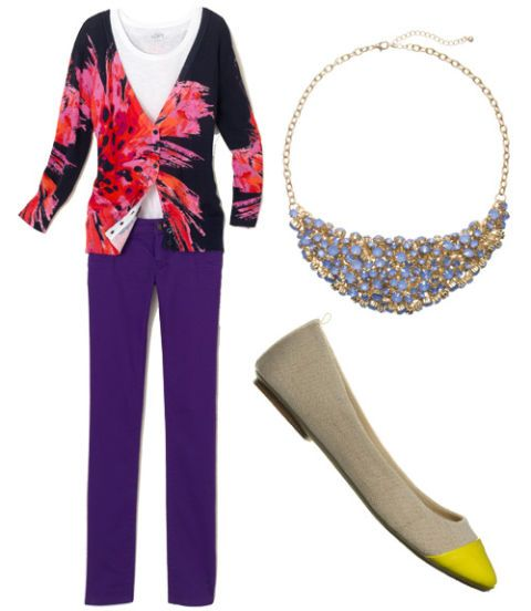 floral cardigan and purple pants