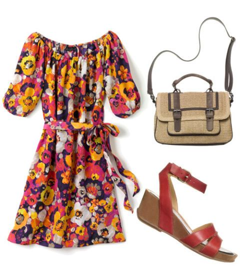 floral dress with satchel and heels