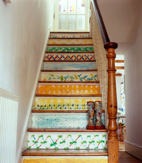stairs painted with art