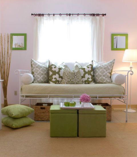 family room with green and white decor